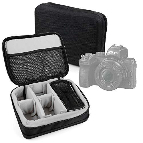 DURAGADGET Bolsa Acolchada Profesional Negra con Compartimentos e Interior en Gris Compatible con Cámara Olympus OM-D E-M5 Mark III, Nikon Z50, Nikon Z 50, Kodak PIXPRO WPZ2