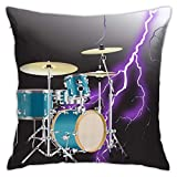 Hangdachang Drum Lightning - Funda de almohada personalizada, funda de cojín decorativa para coche, sofá, hogar, 45,7 x 45,7 cm