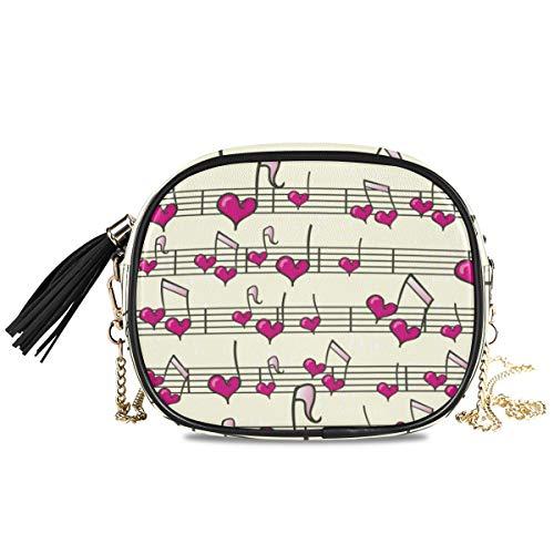 QMIN Umhängetasche mit Herz-Musiknoten-Muster, kleine Handtaschen-Geldbörse, PU-Leder Schultertasche Organizer mit Kette Riemen Quasten für Frauen Mädchen Damen