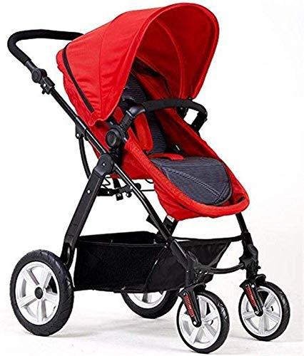 DAGCOT Cochecito de bebé de alta paisaje puede sentarse Horizontal Reversión portátil plegable 4 Amortiguador recién nacido yangmi (Color : Red)
