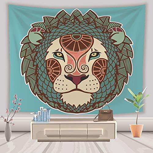 WarmHome Lion Head Tapestry Impresión En 3D Fondo Animal Lona Fondo Pintura Decorativa (Color : Green, Size : S)