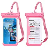 TJS Universal Sport Swimming Waterproof IPX8 Case Cellphone Dry Bag Pouch for iPhone Xs Max XR XS X 8 7 6S Plus, Galaxy S10 Plus S10 S10e S9 S8 +/Note 9, Pixel 3 XL,LG, Moto up to 6.5' (Pink)