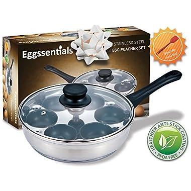 Eggssentials Poached Egg Maker - Nonstick 6 Egg Poaching Cups - Stainless Steel Egg Poacher Pan FDA Certified Food Grade Safe No PFOA
