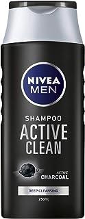NIVEA Men Champú Active Clean (250 ml), champú de carbón activado para cabello normal a graso, champú de limpieza profunda para hombres con fragancia masculina fresca