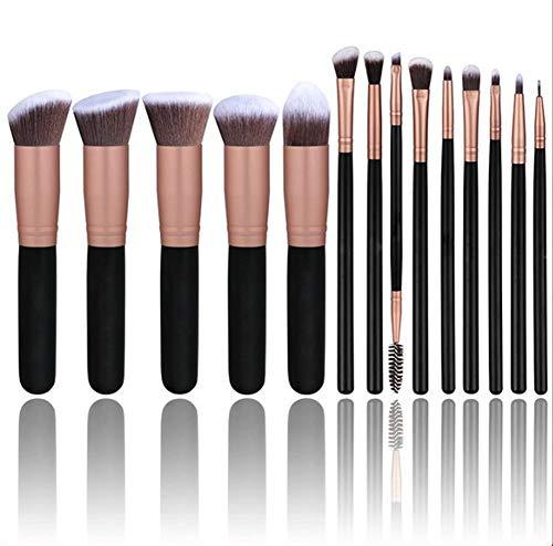 Makeup Brushes Nouveau 14 Jeu De Pinceaux De Maquillage, Cheveux en Nylon Ondulé, Manche en Bois, Longueur Totale: 15-19Cm,Black