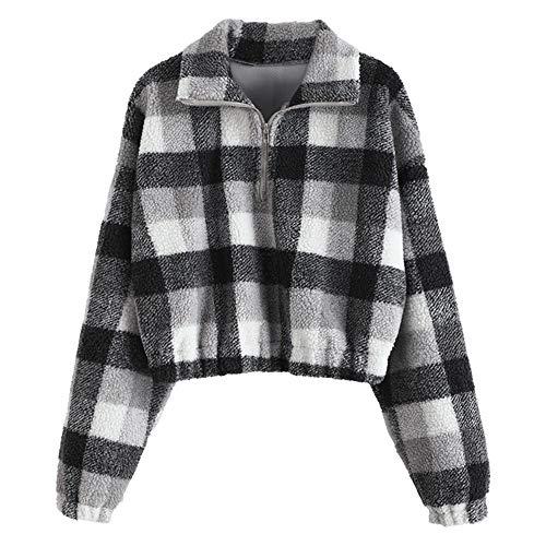 ZAFUL Dame Plaid Sweatshirt, langärmliger Kunstpelz Pullover mit Stehkragen/Half Reißverschluss