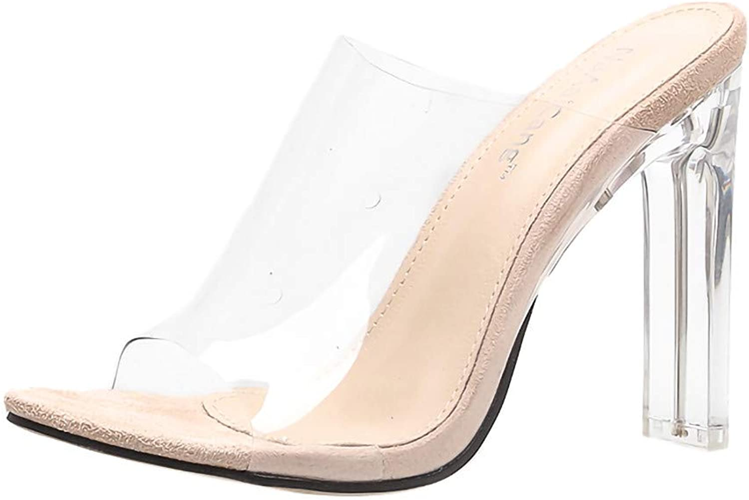 HKDGID Women's Nude Peep Toe Transparent Strap Clear Sandals High Heeled shoes Slippers