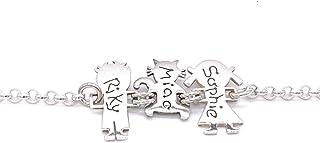 ibamboli - Bracciale famiglia personalizzato in argento 925 composto da maschio, gatto e femmina. Traforo omaggio
