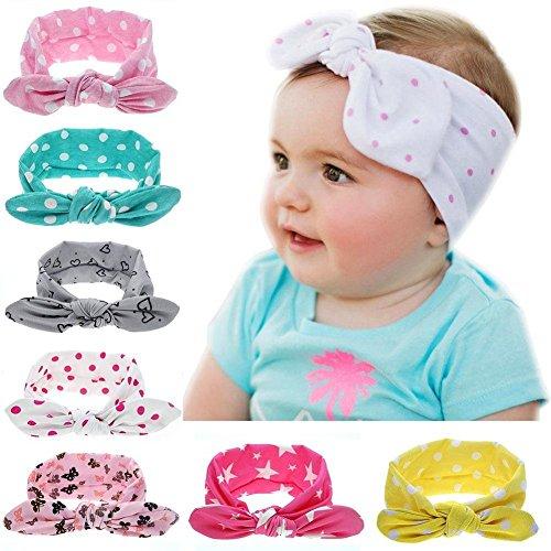 HugeStore 7 Stück Baby Kinder Mädchen Tupfen Bowknot Haarband Stirnbänder Stirnband Turban Kopftuch Haarschmuck