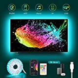 USB TV LED Backlight Work with Alexa,12.4Ft RGBW TV Led Light Strip for 32 to 55inch Music Sync to Color Changing 6500K Bias Lighting,APP Control for HDTV Computer Gaming (Only Supports 2.4 GHz WiFi)