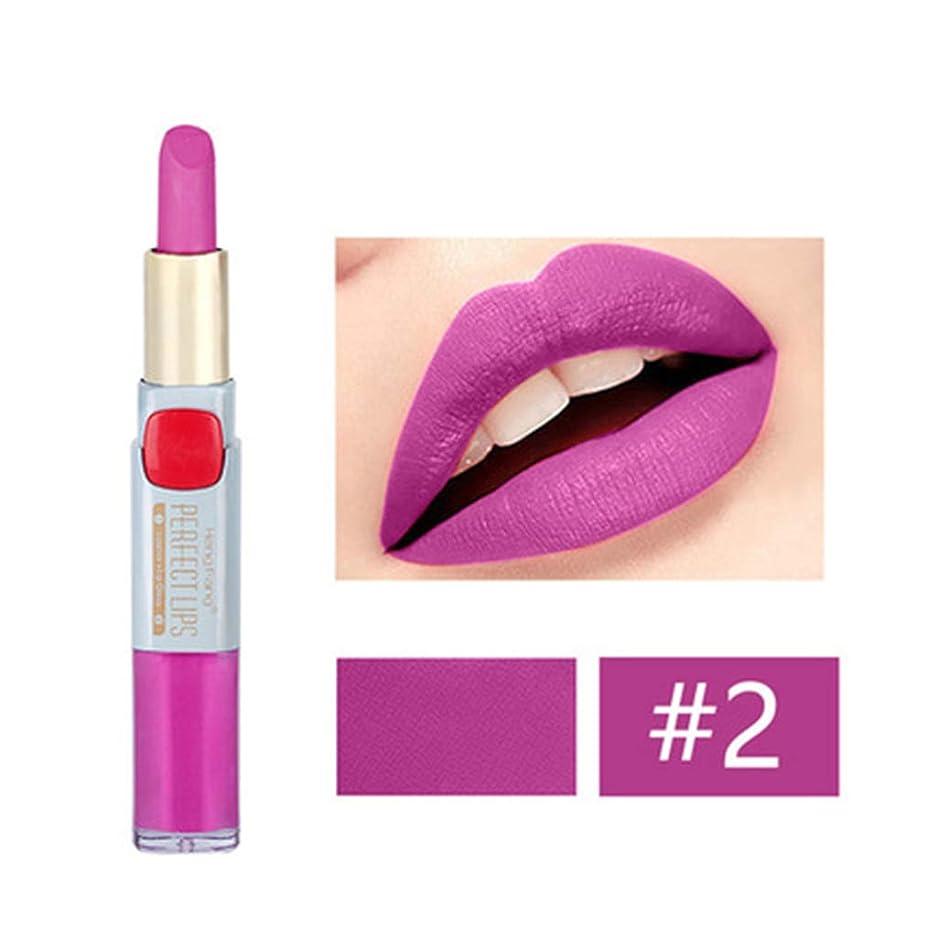 少し無駄にギャラントリーKimyuo 2つ1つの長続きがする防水二重頭部の唇の液体の鉛筆のマットの口紅の唇の光沢の化粧品