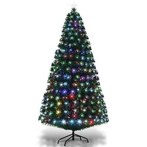 GYMAX. 6FT/1.8M Fiber Optic Christmas Tree, Green Artificial Xmas Tree, Multicolored Changing Lights Pine Tree with Top Star