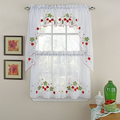 """LORRAINE HOME FASHIONS Strawberries Tailored Window Valance, 58""""x 12"""", Red"""