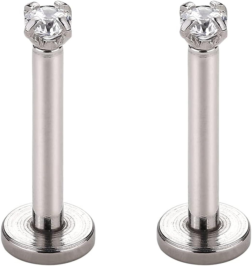 16g Forward Helix Earring 316L Surgical Steel 2mm 3mm 4mm CZ Stud Earrings Ear Cartilage Tragus Piercing Jewelry 2 Pcs