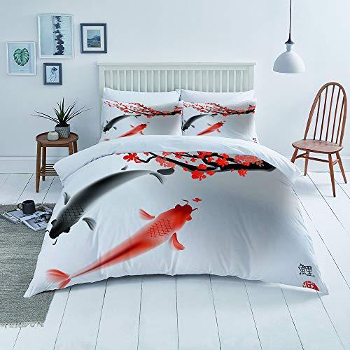 Flyerer Duvet Cover Set-Bedding,Koi Carp Fish Couple Swimming with Cherry Blossom Sakura Branch Culture Design,for Single Double King Bed/Made of Ultra-Soft Microfiber