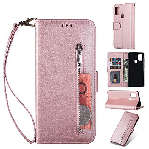 ZTOFERA Samsung A21S Hülle, Magnetisch Folio Flip Wallet Leder Standfunktion Reißverschluss schutzhülle mit Trageschlaufe, Brieftasche Hülle für Samsung Galaxy A21S - Roségold