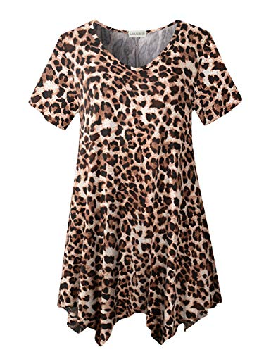 LARACE Womens V Neck T Shirts Casual Loose Fit Short Sleeve Tunic Plus Size Tops for Leggings(A-Leopard08 1X)