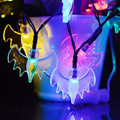 Solar LED Halloween Kürbis Lichterkette Ghost Festival Ghost Form Ghost Face Outdoor blinkende Lichterkette Bat 2 Funktion 7 Meter 50 Licht weißes Licht