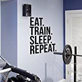 Eat Train Sleep Repeat Fitness Wall Decal Quote for Gym Kettlebell Crossfit Motivational Quotes Art Stickers Home Decor 42X58cm