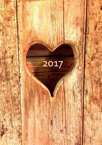 Kalender 2017 - Herz aus Holz: DIN A5 - 1 Woche pro Doppelseite
