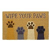 Wipe Your Paws ドアマット 天然コイル繊維 PVC裏地付き 17x29 ADW032