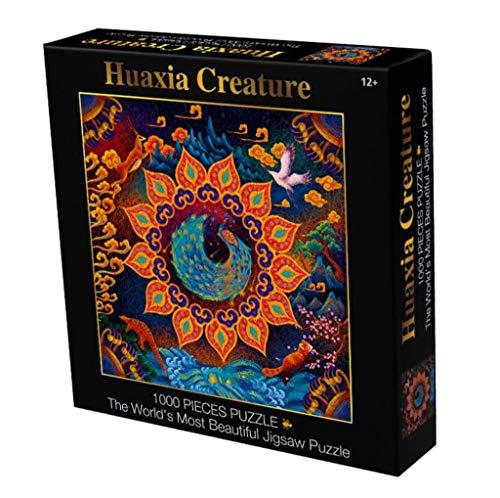 Huaxia Creature Puzzle Mandala 1000 Stuks Rond Puzzle Color Challenge Puzzels for volwassenen en kinderen Game Gift Toy Decor van het Huis