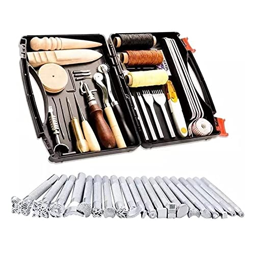 DHDHWL Kit de artesanía de cuero 48 unids DIY profesional de cuero Herramientas Kit de costura mano Punzón Tallado Trabajo Saddle Groover Set Accesorios