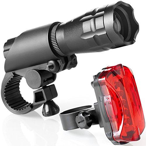 Juego de Luces para Bicicleta - Luces LED Súper Brillantes para su Bicicleta - Fácil Montaje del Faro Delantero y la luz Trasera con Sistema de Liberación Rápida - Se Adapta a Todas las Bicicletas