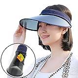 GOKEI_CO サンバイザー レディース 折りたたみ 夏 つば広 ワイド 帽子 UVカット帽子 紫外線対策 日焼け対策 UVカット UPF50+ 日除け 雨 自転車 コンパクト収納 ポーチつき