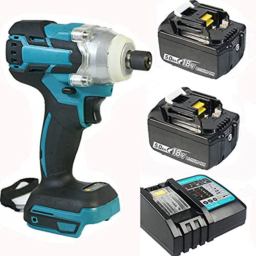 MIJPOJAN Electric Impact Wrench Cordless, 18V Combi Drill Kit Impact Drivers 350NmDriver Drill with 2X5.0Ah Batteries LED Light with Fast Charger Drilling an
