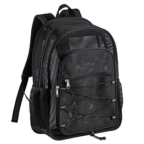 Heavy Duty Mesh Backpack, See Through College Student Backpack, Semi-transparent Mesh Bookbag with Bungee and Comfort Padded Straps for Commuting,...