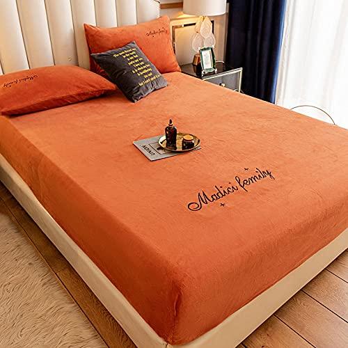 FFLDM Sábana Bajera Ajustable elástica,Sábanas Gruesas y cálidas Bordadas de Terciopelo Coral, Protector de colchón Crystal Velvet Super King-Orange_150x200 + 25cm