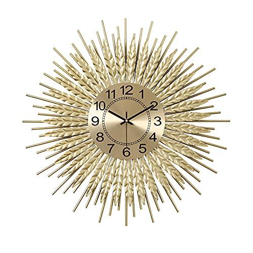 Reloj De Pared De Metal, Reloj De Pared Silencioso Sin Horno, Reloj De Pared Grande Moderno De Mediados De Siglo Para Leer Inicio/Oficina/Aula/Reloj Escolar, Oro,60cm