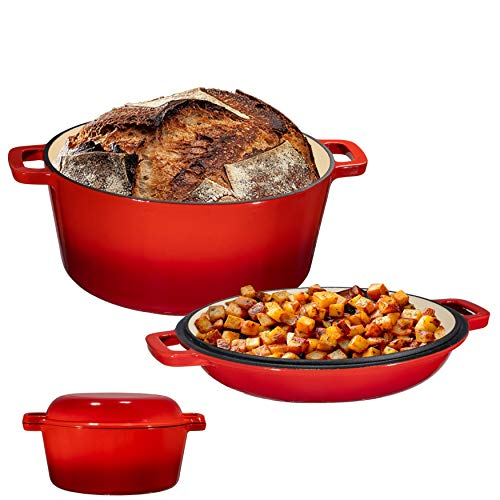 2 in 1 Enameled Cast Iron Double Dutch Oven amp Skillet Lid 5Quart Fire Red  Induction Electric Gas amp In Oven Compatible