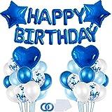 Bluelves Palloncini Compleanno Azzurri, Decorazioni Compleanno Azzurri, Festoni Compleanno Bambino, Buon Compleanno Bandierine, Palloncini Azzurri per Bambini 1 Anno, 2 Anni, 3 Anni