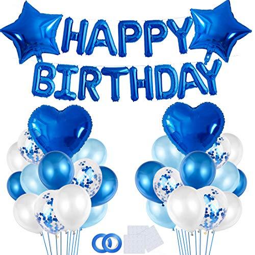 Geburtstagsdeko Blau Jungen, Kindergeburtstag Deko Jungen, Luftballon Blau Geburtstag Dekoration, Happy Birthday Girlande Banner, Ballons Geburtstag Blau für Kinder Geburtstagsfeier