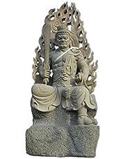 不動明王 半跏像 天然青御影石 仏像 石仏