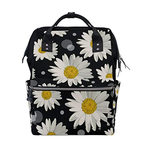 Large Capacity Diaper Bag Backpack White Daisies and Dots Multi-Function Waterproof Insulation Travel Bag, Baby Nappy Storage Bag, Fashion Mummy Bag