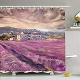 AdaCrazy Feld Provence Reihe Französisch Aquarell Zeichnungen Naturpark Outdoor Cottage Farm Lavendel Mikrofaser Badezimmer Duschvorhang Moderne Badezimmer Vorhänge 71 x 71 Zoll