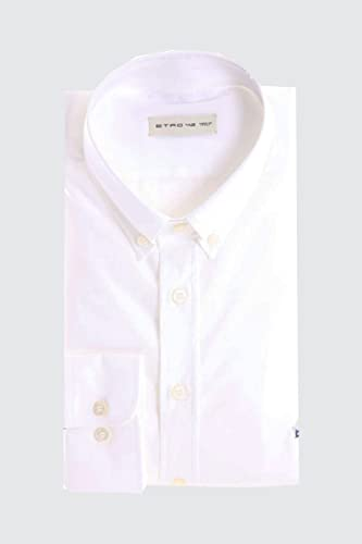Etro blanc Button Down Shirt in Poplin Cotton, Homme.
