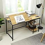 "Sedeta 55"" Computer Desk with 2-Tier Storage Shelves, Adjustable Tiltable Tabletop, Large Drafting Drawing Table, Multi-Function Modern Home Office Desk, Study Writing Art Craft Workstation, Oak"