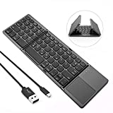 Jelly Comb Bluetooth Tastatur Kabellos/mit Kabel, Dual Modus Faltbare Funktastatur mit Touchpad für PC, Laptop, Computer, Smart TV, iPad, Android Tablets, QWERTZ Deutsches Layout, Grau