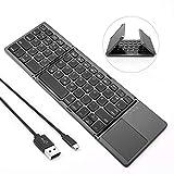 Jelly Comb Bluetooth Tastatur Kabellos/mit Kabel, Dual Modus Faltbare Funktastatur mit Touchpad für PC, Laptop, Computer, Smart TV, iPad,...