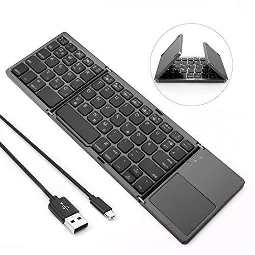 Jelly Comb Bluetooth Tastatur Kabellos/mit Kabel, Dual Modus Faltbare Funktastatur mit Touchpad für PC, Laptop, Computer, Smart TV, iPad, Android Tablets, QWERTZ Deutsches Layout, Grau