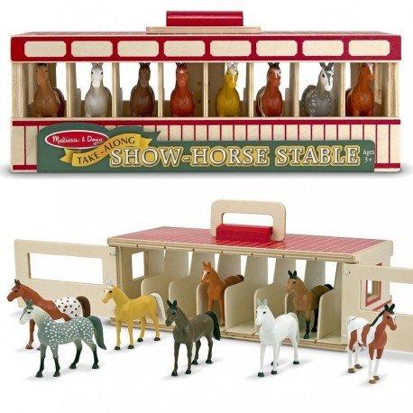 Étable en bois avec 8 chevaux de spectacle Jouet Enfants 3 ans +