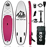 Roc Inflatable Stand Up Paddle Boards W Free Premium SUP Accessories & Backpack, Non-Slip Deck Bonus Waterproof Bag, Leash, Paddle and Hand Pump (Sangria)