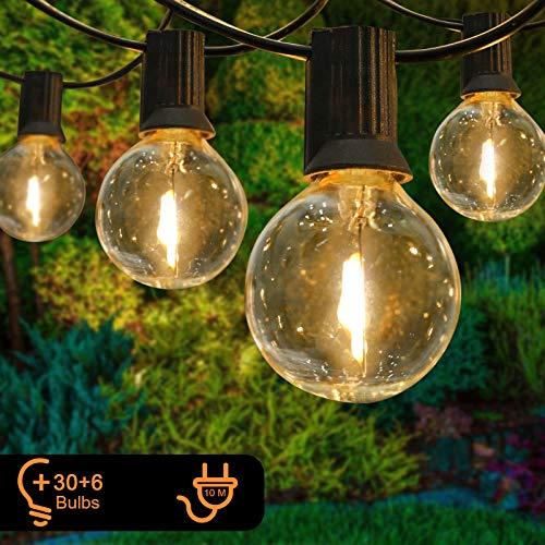 GolWof Lichterkette Außen 10m Garten Lichterkette mit 30+6 Glühbirnen G40 IP44 wasserdichte Lichterkette Glühbirnen LED für Innen Außen Party Hochzeit Café Garten Dekoration Weihnachten