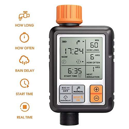 LCTS Irrigation System Controller Automatische Bewässerung Timer, mit High-Definition-LCD-Large Screen Display Intelligente Zeitbewässerung, für Garder, Rasen