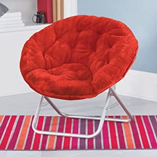 Mainstay Faux-Fur Saucer Chair with Cool Faux-Fur Fabric, Soft and Wide seat, Perfect for Lounging, dorms or Any Room in Multiple Colors (Red Engine)