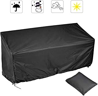 2/3/4 Seater Outdoor Bench Cover, Polyester Fabric Waterproof Anti-UV Dustproof Garden Patio Bench Seat Cover Furniture Protector with Drawstring Cord and Storage Bag